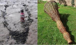 Left: The ancient medieval fishing basket ('kype' / 'putt') dating back to the 14th century, which was found buried in silt and clay in the Severn Estuary. Right: This is a representation of what the medieval fishing basket may have looked like. Source: Black Rock Lave Heritage Fishery