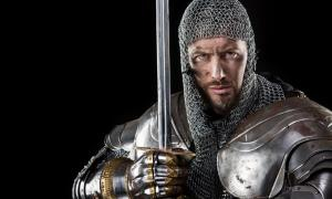 Medieval knight armor with chain mail