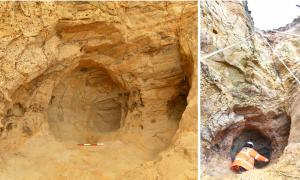 Left: The small cave is full of intricate engravings, initials and other markings, revealing insights into medieval religion. Right: Archaeologists investigating the cave, which could only be reached by abseiling.            Source: Archaeology South East