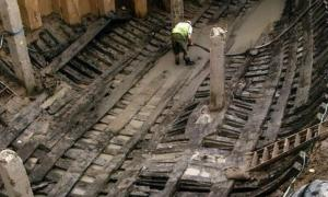 The Newport Medieval Ship being excavated and restored.    Source: Owain at the English language Wikipedia / CC BY-SA 3.0