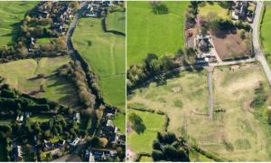 Left: Before the damage was completed to the medieval village site in Withybrook, Warwickshire, in 2014. Right: After the damage more recently. The substantial work completed can be seen, e.g. creation of large track.	Source: 	Historic England