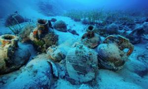 Amphorae left on the seabed of one of the Mediterranean shipwreck sites.