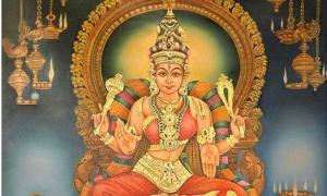 An image of the goddess Meenakshi.