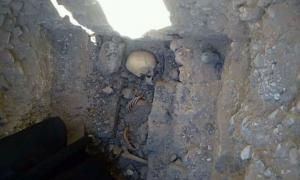 The teenage girl's skeleton that was uncovered near Meidum pyramid.