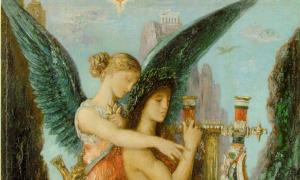 Melpomene in a painting 'Hesiod and the Muse' (1891) by Gustave Moreau.