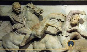 Alexander on horse at the battle of Issos. Alexander Sarcophagus, Istanbul Archaeological Museum. (CC BY-SA 3.0)