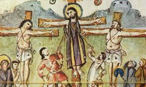 "Crucifixion miniature, Rabula Gospels, with the legend ""Loginos"". Meister des Rabula-Evangeliums - The Yorck Project (2002) (Public Domain)"