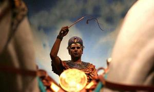 'Egyptian on Chariot in Crossroads of Civilization exhibit at Milwaukee Public Museum'. King Menes is credited with uniting the upper and lower lands of Egypt through both political alliance and military means.