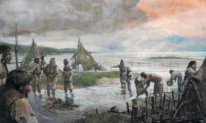Representation of the Mesolithic people of Doggerland dealing with rising sea levels.