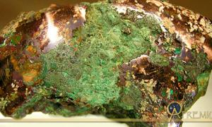 Native copper nugget from glacial drift, Ontonagon County, Michigan. An example of the raw material worked by the people of the Old Copper Complex.