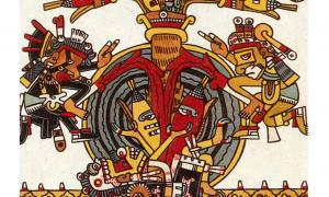 The ancient Mexican Codex Borgia of the Aztecs, who came after the Olmecs but who also revered corn, shows Quetzalcóatl