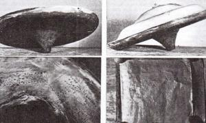 Images taken by Dr. John Dale in 1958 showing the intact saucer, the copper base with hieroglyphs and one of the copper sheets from the 'booklet' that contained a message from Ullo.