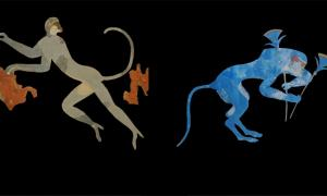 Left, vervet monkey depicted in Minoan art at Akrotiri, Thera; Right, Baboon shown in a fresco at Knossos      Source: Antiquity Publications Ltd