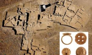 Left: bird's eye view shot of the excavation site, and right: Minoan treasure / gold ring unearthed at site.        Source: Greece Ministry of Culture and Sports