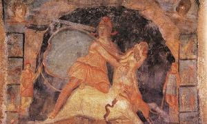 Mithras and the bull, fresco from Temple of Mithras, Marino, Italy, dated 2nd century AD.    Source: Public Domain