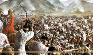 Painting depicting the Battle of Cheoin (Korea) between Goryeo and Mongol Empire forces in the Korean peninsula in 1232; Deriv.