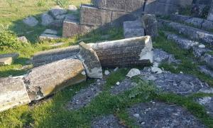 Destroyed marble column at the monumental fountain at the ancient city of Apollonia in Albania. Source: Himara