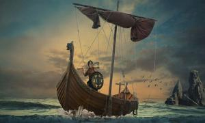 Viking in a boat