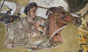Mosaic depicting Alexander the Great fighting Darius III of Persia