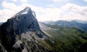 Mountain range vista of the Central Eastern Alps.