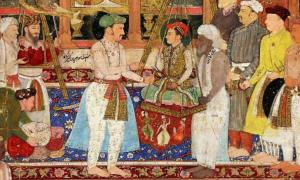 Detail of Mughal Emperor Jahangir weighing Prince Khurram (later crowned Shah Jahan of the Mughal Empire). Page from Tuzk-e-Jahangiri. 1610-1615, British Museum, London.