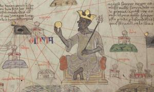 Musa depicted holding a gold coin from the 1375 Catalan Atlas.