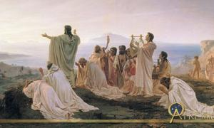 Pythagoreans Celebrate the Sunrise by Fyodor Bronnikov (1869)