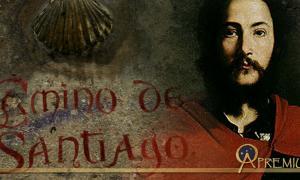 Santiago el Mayor' Saint James the Great (Public Domain), and sign on the Camino de Santiago (Manuel/ CC BY 2.0);Deriv.