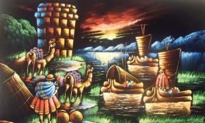 Artist's interpretation of activity in and around Lake Titicaca