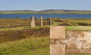 Ring of Brodgar, a Neolithic stone circle and henge monument, with the Loch of Harray in the background. Detail: Aerial view of the newly-uncovered structure.