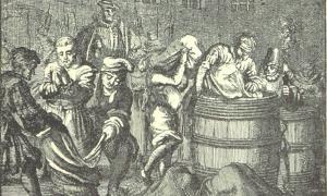 """Ertränken im Fass oder Sack"", a 1560 sketch showing 'punishment of the sack'."