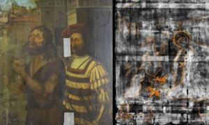 The Nativity scene (right) was discovered by x-ray under the painting of the beheading of John the Baptist (left). Source: Northumbria University and Bowes Museum