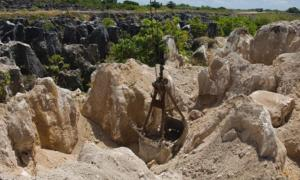 The site of secondary mining of Phosphate rock in Nauru, 2007.        Source: CC BY 2.0