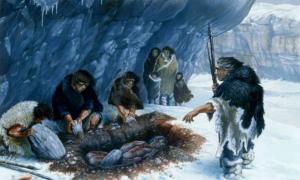 Artist's depiction of a Neanderthal burial ritual