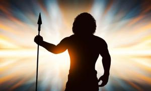 Neanderthal man with spear in hand.