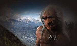 Artist's impression of elderly Neanderthal male based on fossil found at La Chappelle-aux-Saints