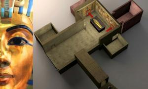 Superimposed photo of Nefertiti's bust on Tutankhamun's mask; and artist's rendering of the proposed rooms behind the KV62 burial chamber; design by Anand Balaji (Photo credit: Roy Lester Pond and Anand Balaji/Deposit Photos); Deriv.