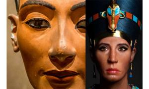 Detail of the Berlin bust of Nefertiti; and the latest 3D sculpture of the queen based on the mummy of the Younger Lady; design by Anand Balaji