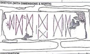 Sketch of the markings found on a block of stone on Orkney