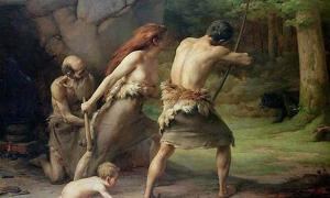 Prehistoric Man Hunting Bears by Emmanuel Benner the Younger.