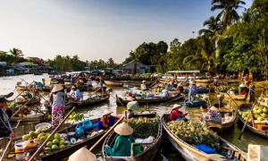 Modern Mekong Delta floating market, Vietnam. Still an area of extensive trade.