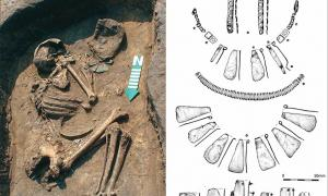 Left) A grave from Osłonki with valuable artifacts, visible near the hands; right) a drawing of the artifacts. Source: Peter Bogucki
