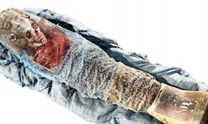 The CT scans were merged with 3D scans of the child mummy's surface to create a single 3D model.