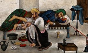 Ayurvedic medicine. Indian Watercolour: 'Man of the Medical caste, masseuse'.