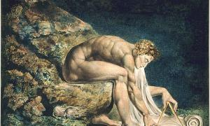 "William Blake's ""Newton."" (1795) In this work Newton is depicted critically as a ""divine geometer""."