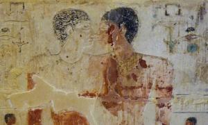 Close-up of Niankhkhnum and Khnumhotep from their joint mastaba (tomb) at Saqqara, Egypt.
