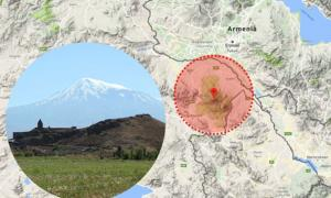Mount Ararat is located near the border between Armenia and Turkey. Insert: Image of Mount Ararat.