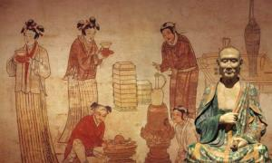 Liao Dynasty (907-1125) tomb mural by unknown painter in Inner Mongolia. Scene of everyday life. Men and boys have distinctive Khitan hairstyle. (Public Domain) Insert: A famous Liao Dynasty Sancai Luohan, Circa 1000