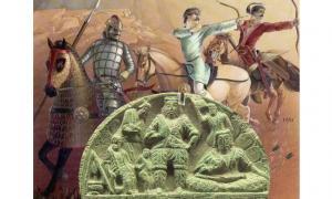 Stone palette depicting Yuezhi king and attendants