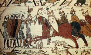Cavalry attack on the Bayeux tapestry. This tapestry depicts the Normans preparing for and invading England.